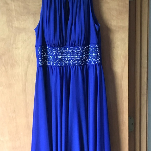 La Nouvelle Renaissance Dresses & Skirts - Deep Blue Shirred Dress with Beading
